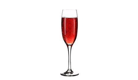 Sloe Gin in Champagne Flute