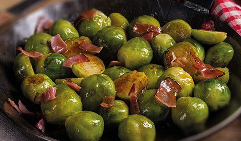 Sprouts, Bacon Toasted Macadamias, Apple Sauce & Crispy Sage - Take Stock magazine