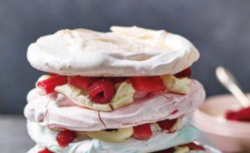Rhubarb & Raspberry Pavlova