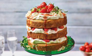 Strawberry & Malted Milk Layer Cake