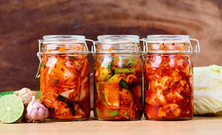 Kimchi in jars