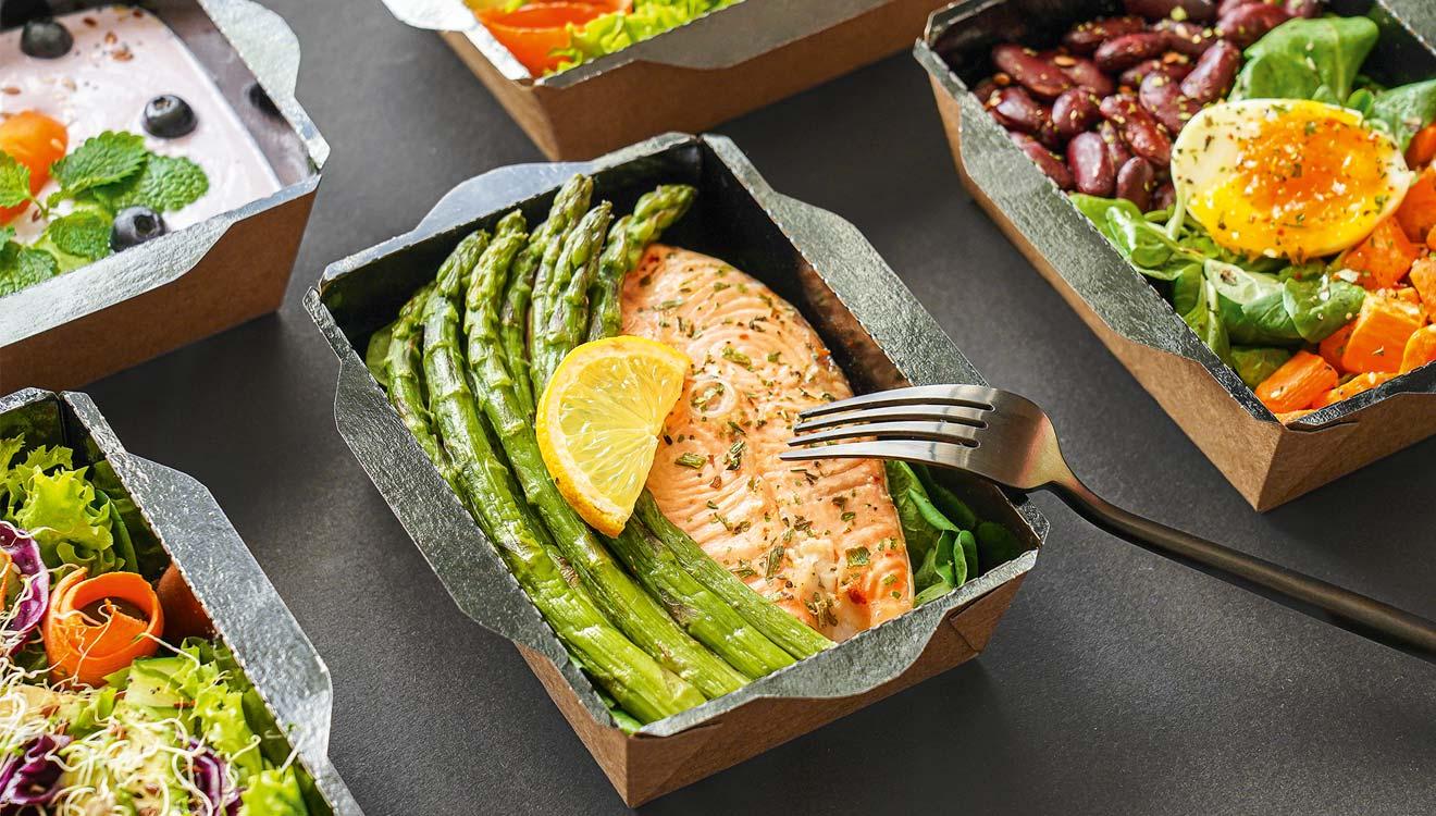 Salmon in takeaway box