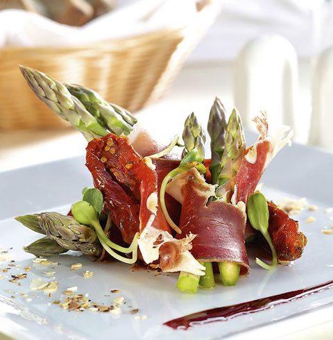 Asparagus with Parma Ham & Parsley Dressing