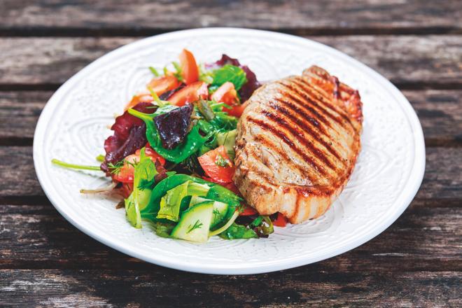 Pork loin and salad