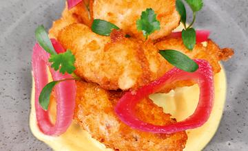 Shetland Monkfi sh Scampi, Curry Mayo & Soused Onions
