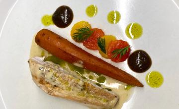 Chicken & Roast Pepper Salad with Caramel Carrot