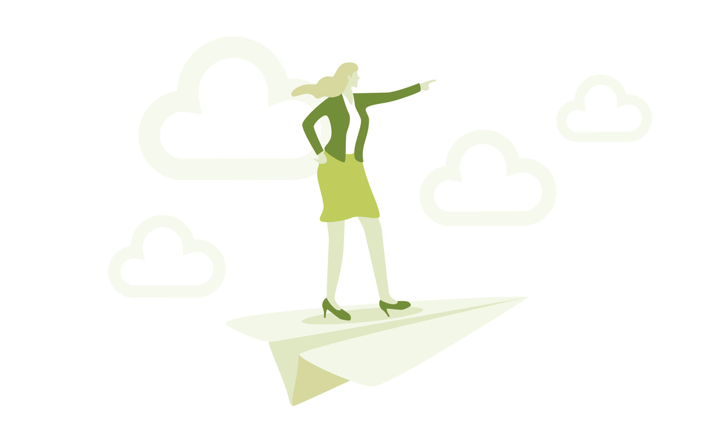 Woman on paper aeroplane illustration