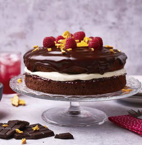 Gluten-Free Chocolate Cake with Raspberries and Honeycomb